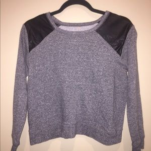 Grey with faux leather sweater